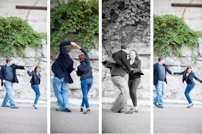 Two people dancing in the street in four panels.