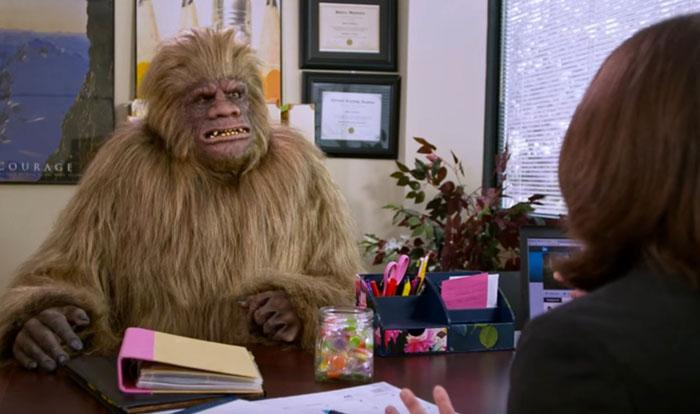 Bigfoot character interviewing for a job