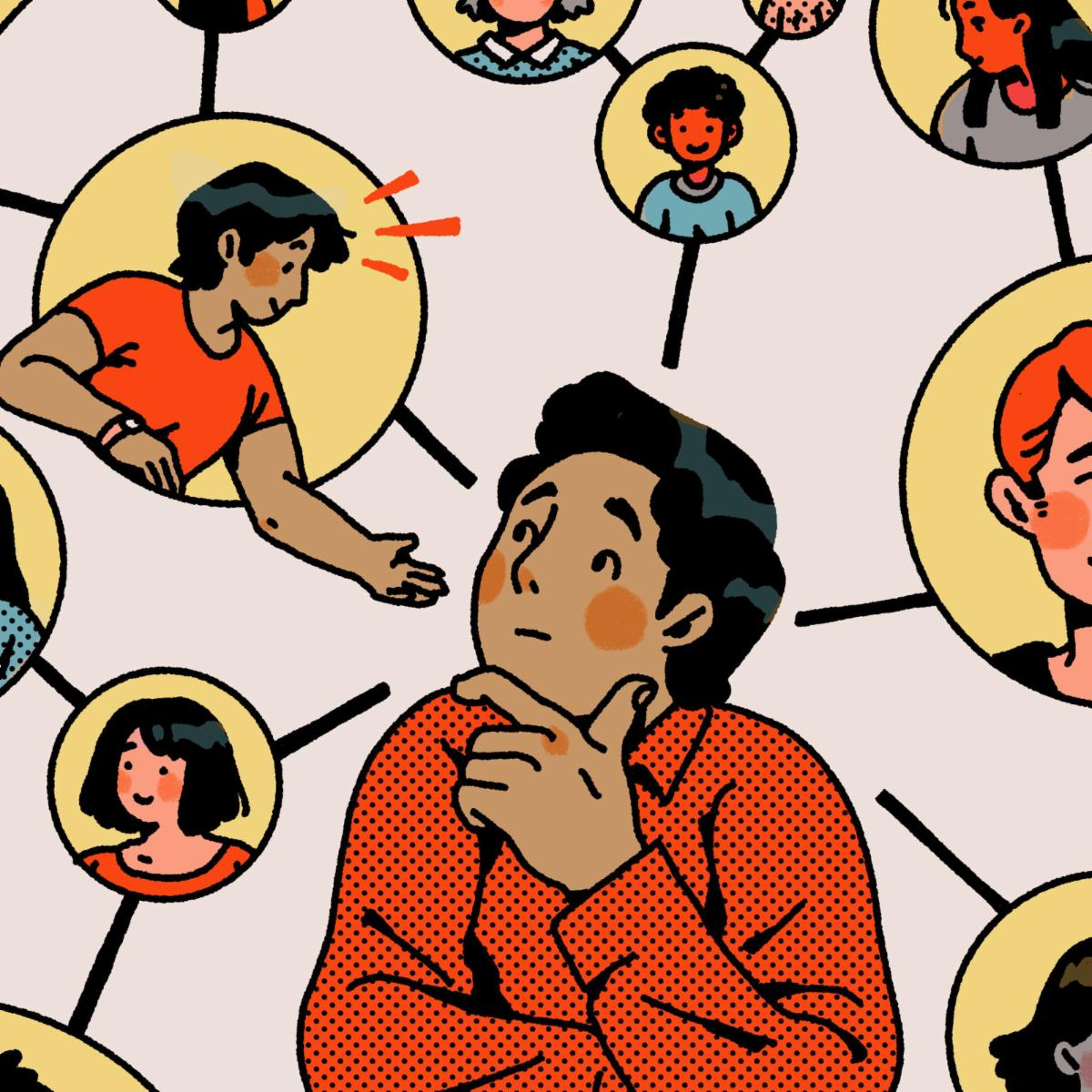 Illustration of a young man considering various mentors in thought bubbles