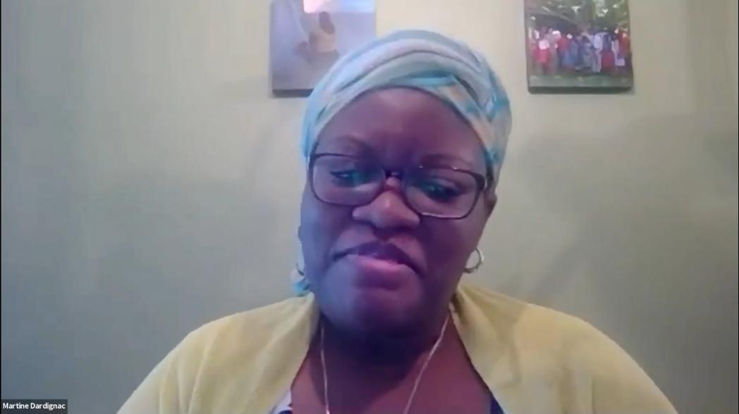 Video screen grab of Martine Dardignac, self-employed business owner and panelist