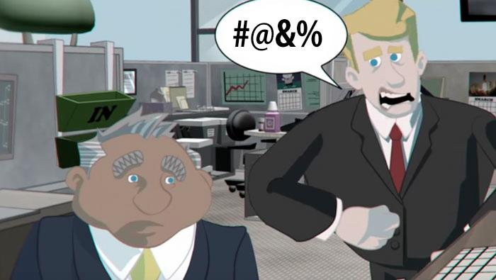 video screen grab of animated scene with male employee bullying another male employee.