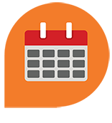 Teardrop shaped icon with calendar graphic