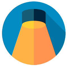 Simple illustration of spotlight in a circlular background