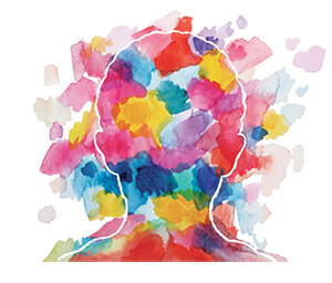 Image of a person's head colored with bright watercolor brush marks