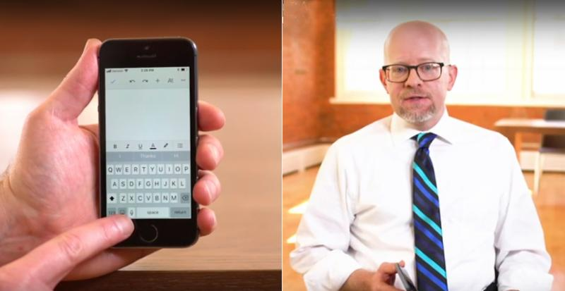 Picture of an iphone in the hand of a user (left) and a male tutorial instructor (right)