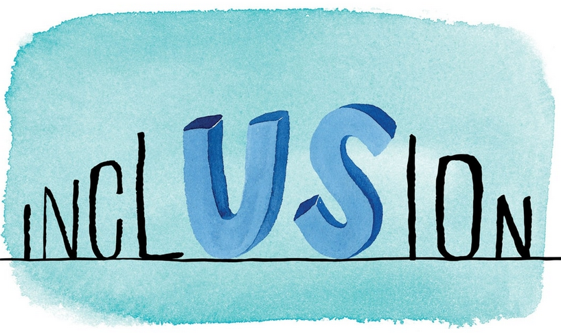 watercolor image of word 'inclusion' with muddle letters 'US' larger than all the rest.