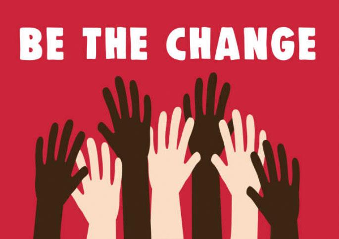 """black and white raised hands together with title """"Be the Change"""" on red background"""
