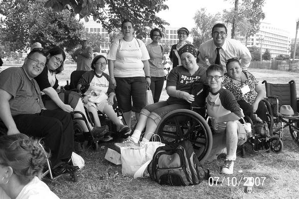 group of disability activitsts pictured together in 2007