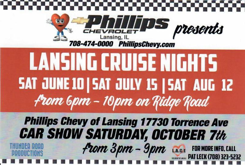 Lansing Cruise Nights Phillips Chevy Car Show SAVE THE DATES - Phillips chevy car show