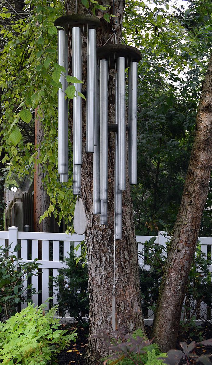 Wind chimes add music to Nancy Lee Anderson's Farmony Garden