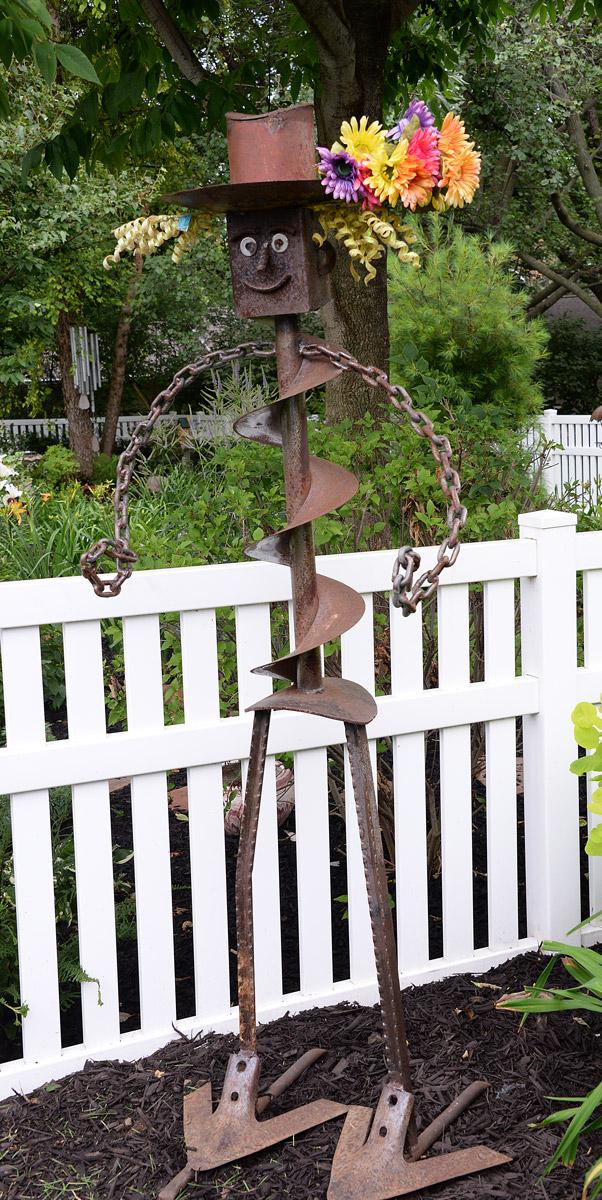Steel Man garden ornament at Nancy Lee Anderson's Farmony Garden