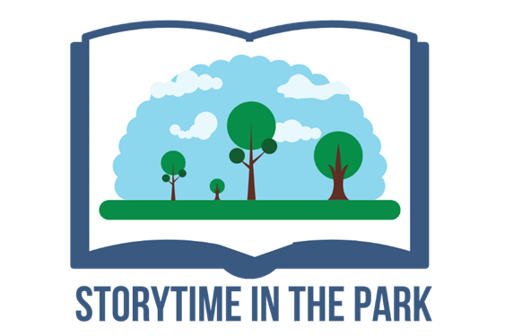Storytime in the park, an image of a park on a book