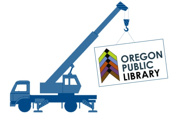 Crane with Library logo