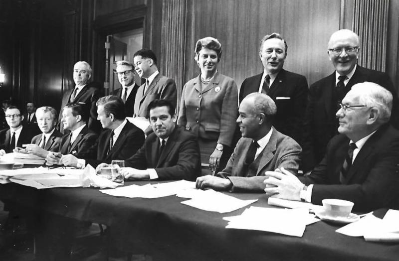 Fred Harris, seated third from right, is the only surviving member of the Kerner Commission, created by President Lyndon Johnson in 1967 to investigate the causes of racial unrest and to find solutions to the problems.