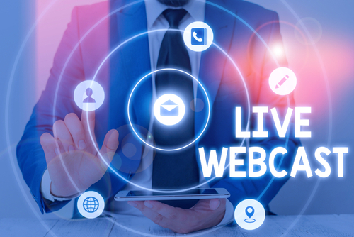 Word writing text Live Webcast. Business concept for the process of video broadcasting live over the internet.