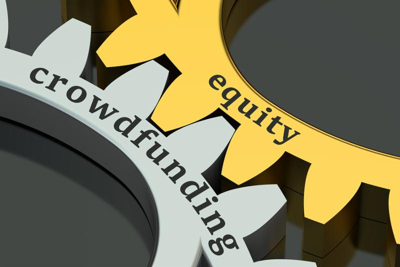 equity crowdfunding concept isolated on black background