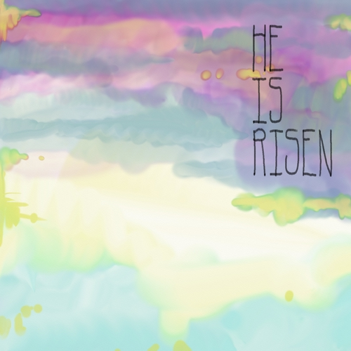 Easter background with sunrise watercolor design and black typography quote He is Risen