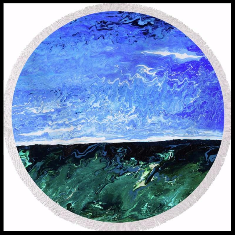 Aquamarine Round Beach Towel