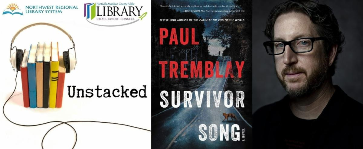 Unstacked Podcast logo with cover of survivor song with a fox crossing the road. dark and eerie. portrait of author paul tremblay