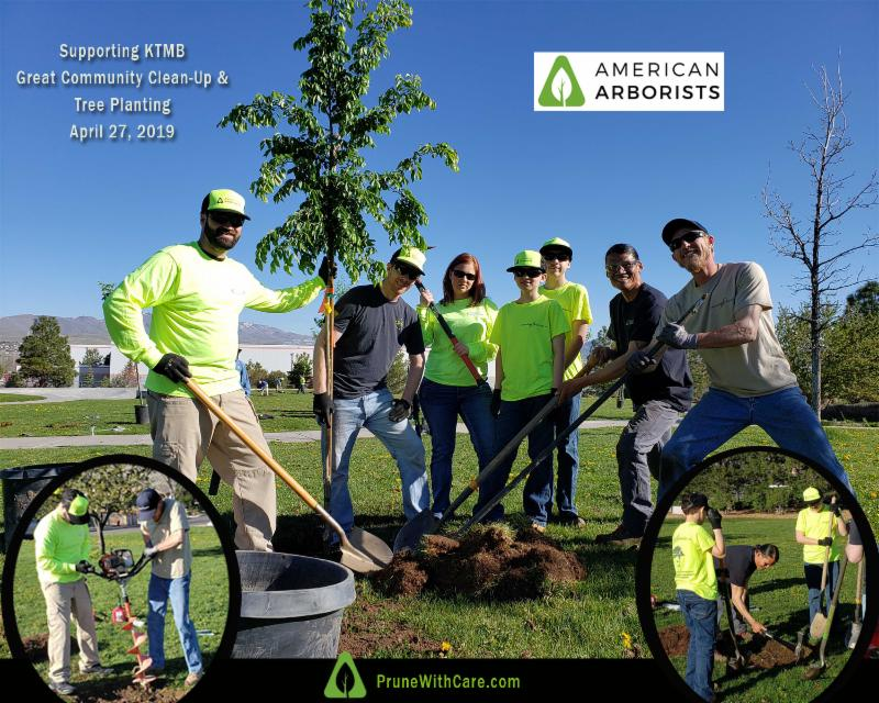 American Arborists staff and family team up to plant trees for Arbor Day at the KTMB Great Community Clean Up event.