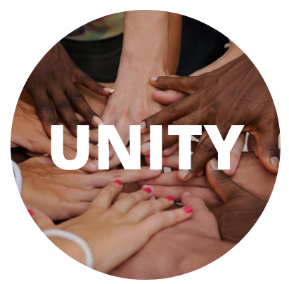 People hands together with the word Unity on top