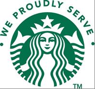 We Proudly Serve Starbucks Logo
