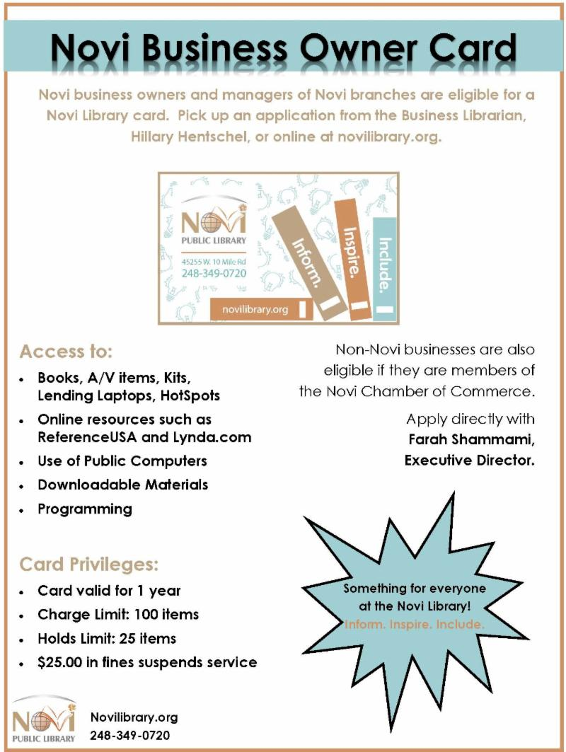 Novi Business Owner Card Information