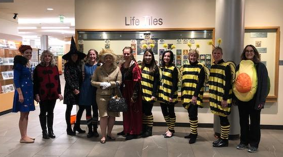 Library Staff dressed up in costumes