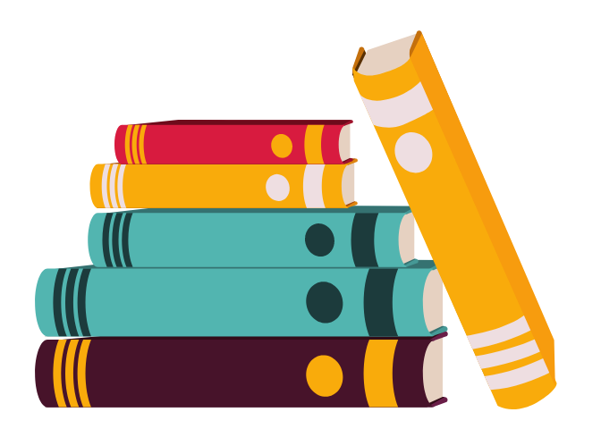 A stack of books in multiple colors