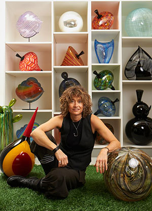 Nancy Callan with glassworks.