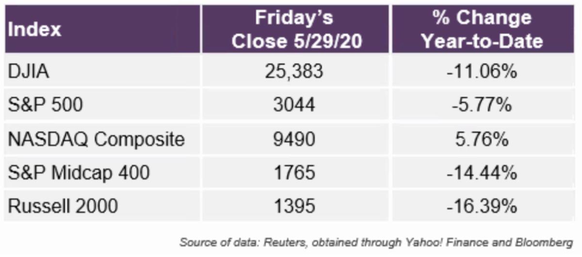 Equity Market Index Returns YTD through May 29 2020