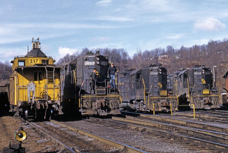 C&O GP9s lined up at Raleigh yard ready for mine shifter work in 1971. Raleigh was an important point to assemble coal trains that were taken down the Piney ...