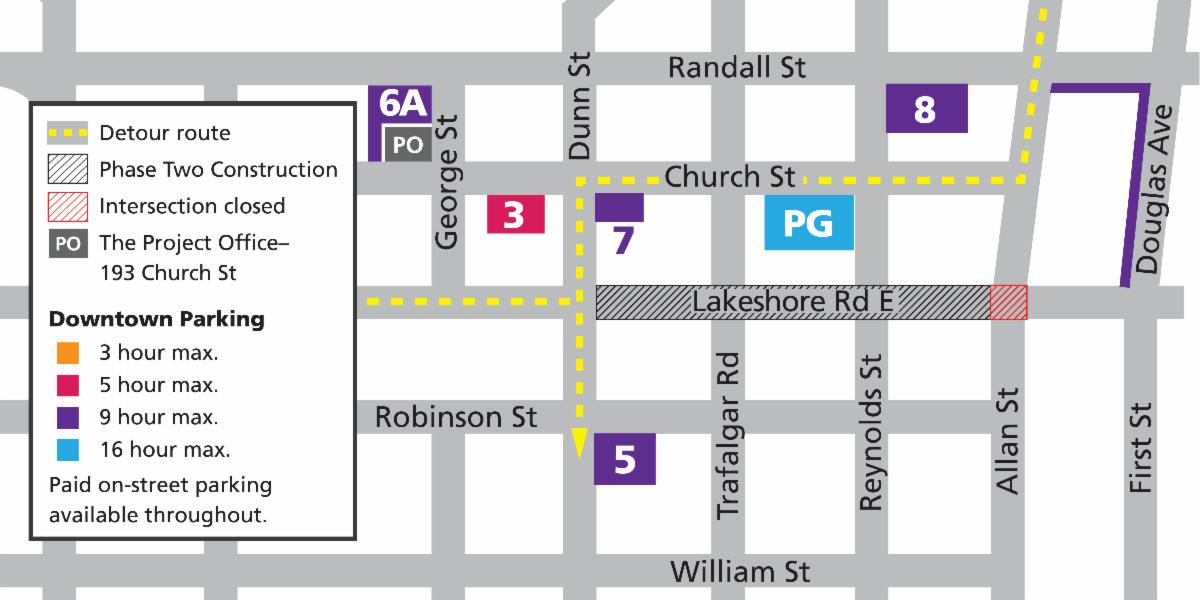 Reconstruction detour route and parking map