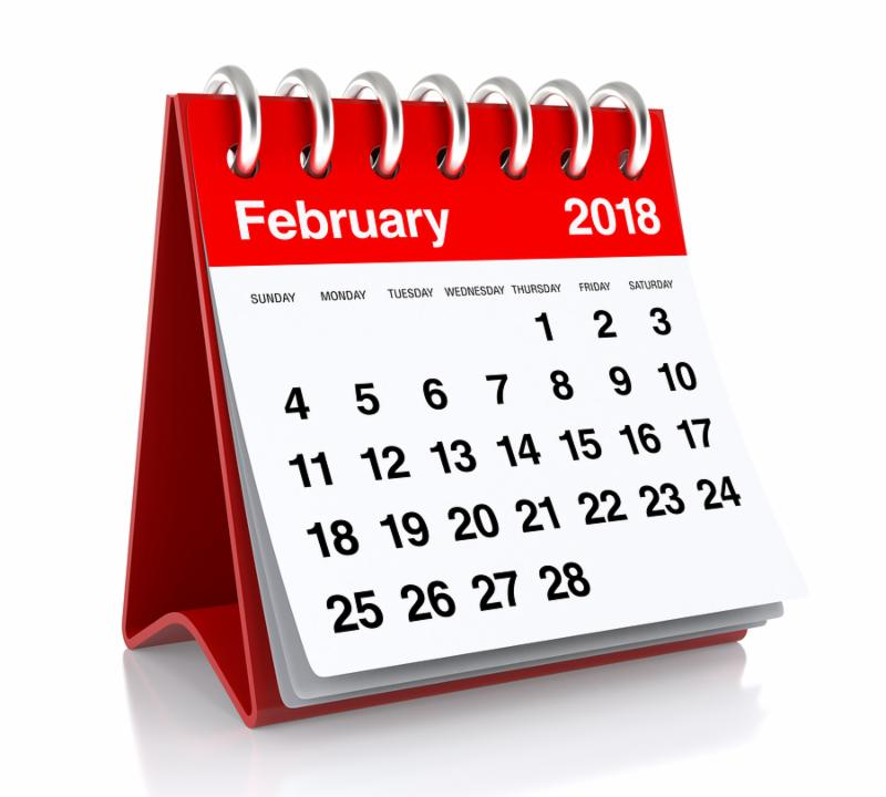February 2018 Calendar. Isolated on White Background. 3D Illustration