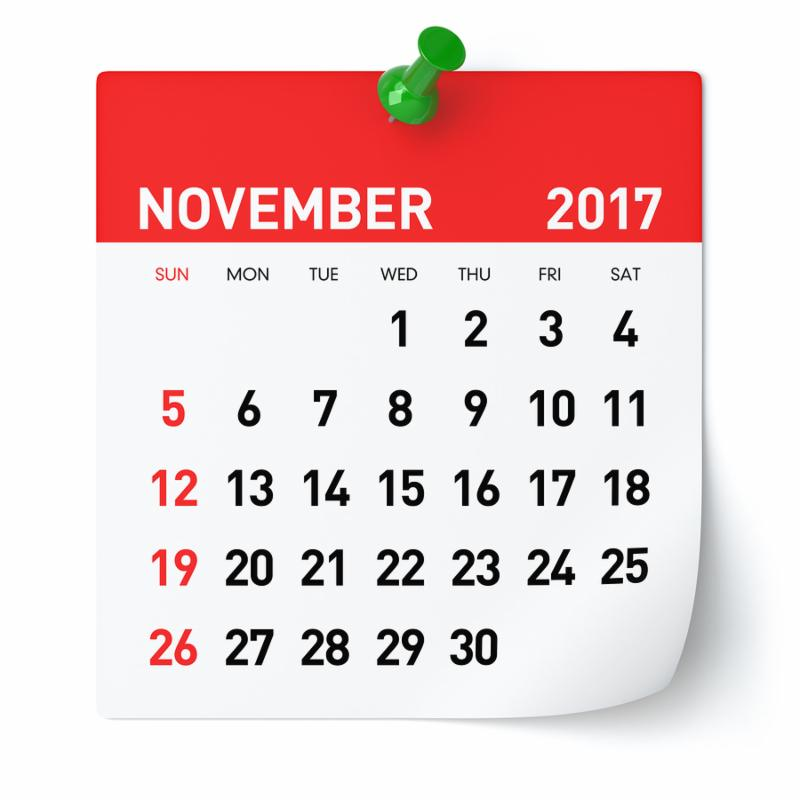 November 2017 - Calendar. Isolated on White Background. 3D Illustration