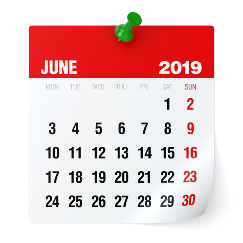 June 2019 - Calendar. Isolated on White Background. 3D Illustration