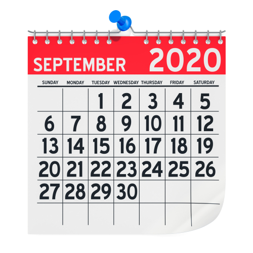 September 2020 Monthly Wall Calendar_ 3D rendering isolated on white background