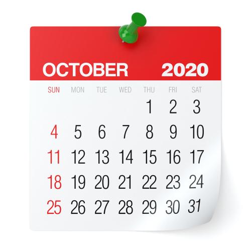 October 2020 - Calendar. Isolated on White Background. 3D Illustration