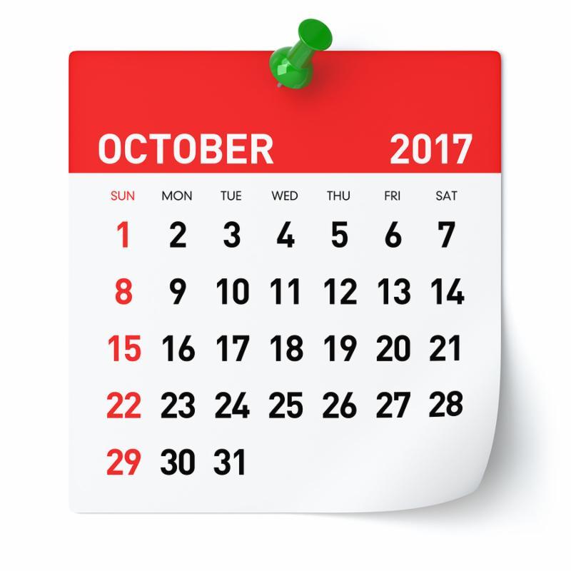 October 2017 - Calendar. Isolated on White Background. 3D Illustration