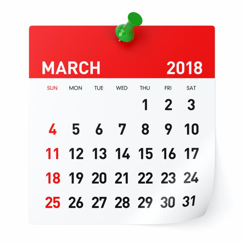March 2018 - Calendar. Isolated on White Background. 3D Illustration