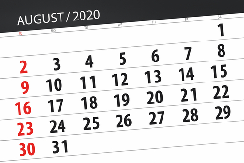 Calendar planner for the month august 2020_ deadline day.