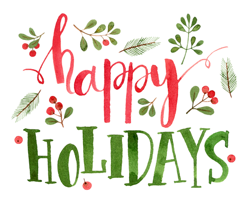 happy holidays card. watercolor illustration and lettering.