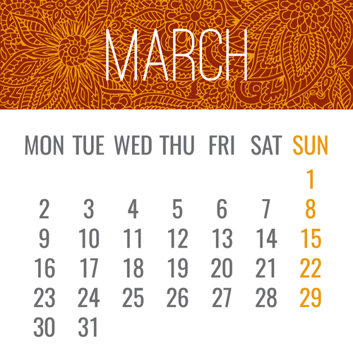March year 2020 monthly calendar with lacy doodle ornate hand drawn orange design. Week starting from Monday.