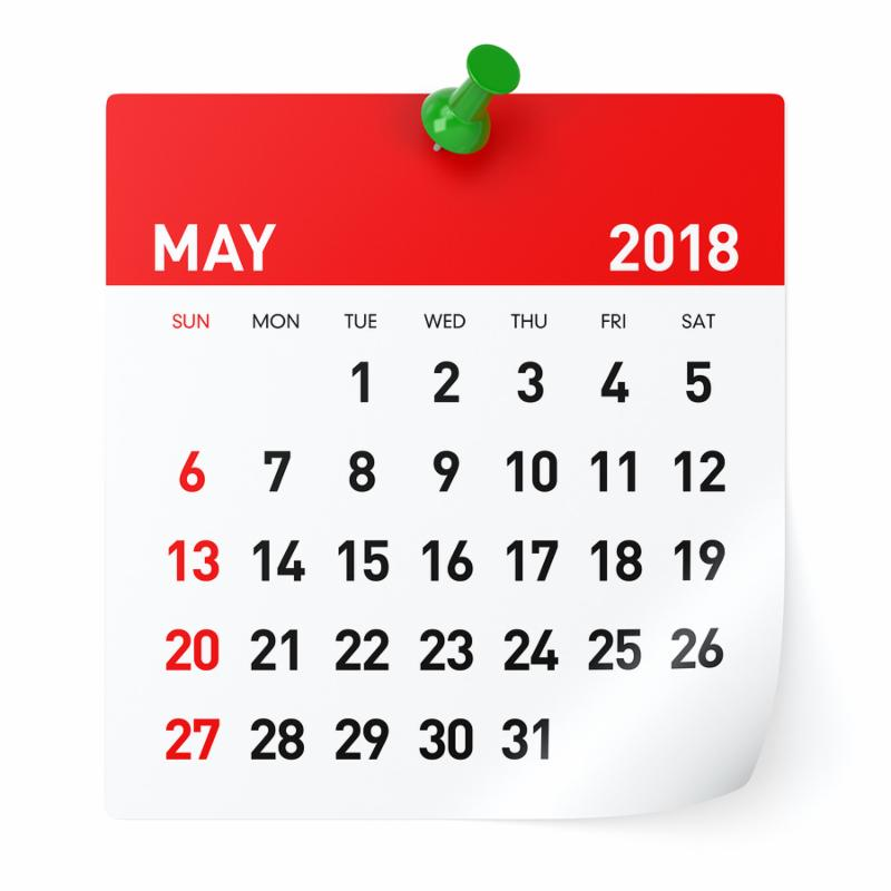 May 2018 - Calendar. Isolated on White Background. 3D Illustration