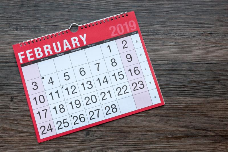Calendar page showing the month of February 2019