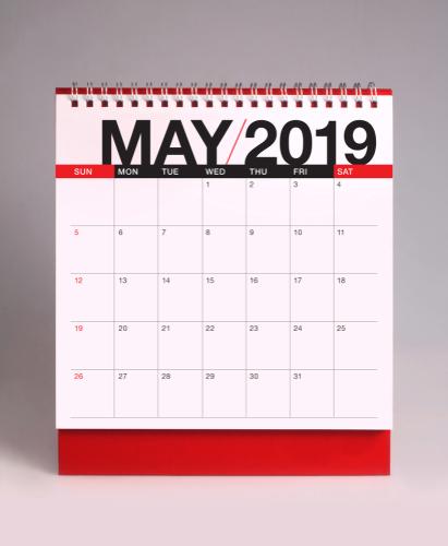 Simple desk calendar for May 2019