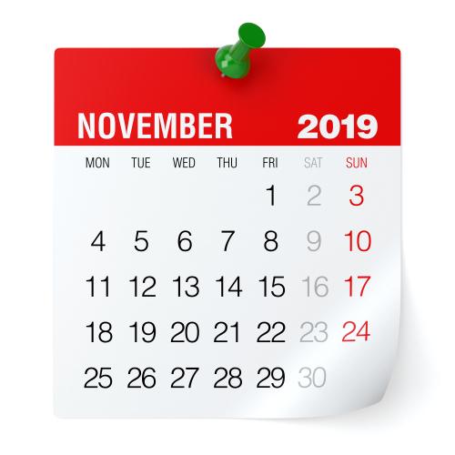 November 2019 - Calendar. Isolated on White Background. 3D Illustration