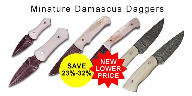 Miniature Damascus Daggers