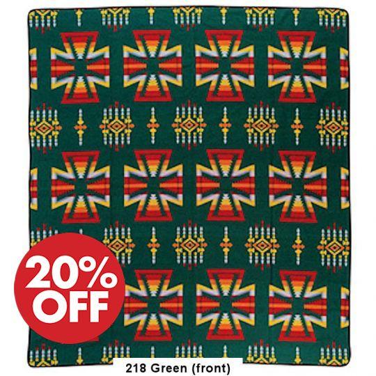 Apache Bedspread - Acrylic 88x96 Green
