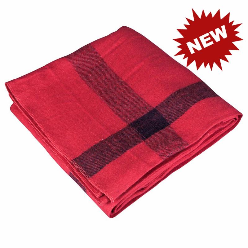 Vintage Camp Style Blanket - Red w-Black Stripes 62x90